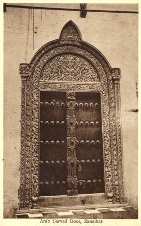Four Antique Postcards Of Zanzibar Omani Doors And Two